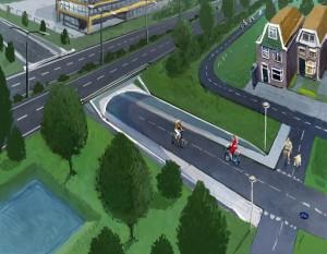 tekening fietstunnel